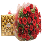 24 Roses Big Bunch and Ferrero Rocher 24 Pieces