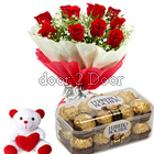 Combo Of Flowers ,Ferrero and Teddy
