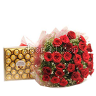 24 Roses Big Bunch and Ferrero Rocher 24 pc